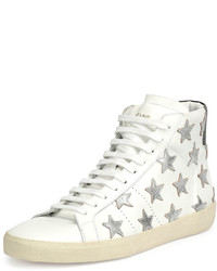 White Star Print Leather High Top Sneakers