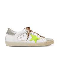 Golden Goose Deluxe Brand Distressed Med Leather Suede And Canvas Sneakers