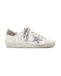 Golden Goose Deluxe Brand Glittered Distressed Leather And Canvas Sneakers