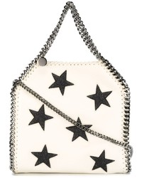 White Star Print Leather Tote Bag