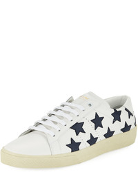 Saint Laurent Leather Stars Low Top Platform Sneaker White