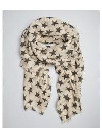 White Star Print Scarf