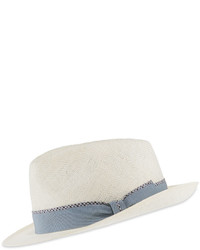 Brioni Classic Fedora Wcontrast Band White Solid