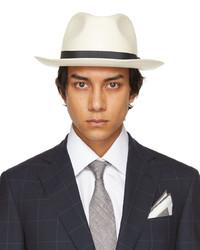 Brioni Off White Straw Panama Hat