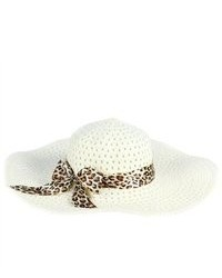 PDS Online Ladys Sun Cool Beach Straw Hat Leopard Ribbon Cap