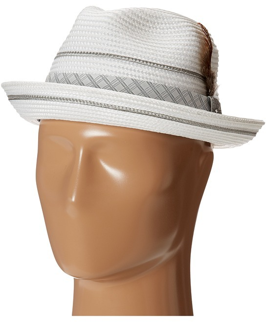 6187dbbf7fe2f ... Straw Hats Stacy Adams Polybraid Pinch Front Fedora With Contrast Tie  Band Fedora Hats ...