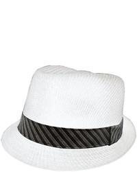 St Johns Bay St Johns Bay Straw Fedora With Striped Hatband