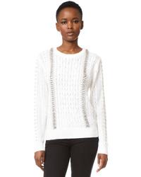 White Studded Crew-neck Sweater