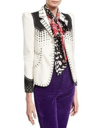 Marc Jacobs Studded Denim Western Blazer White