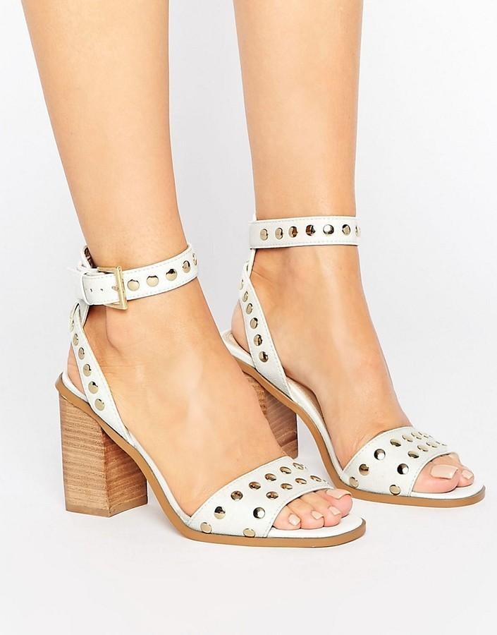 2d02aef18f1 $42, Asos Texas Studded Block Heel Sandals