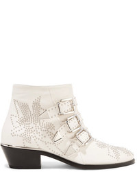 Chloé Susanna Studded Leather Ankle Boots White
