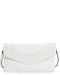 Studded faux leather envelope clutch white medium 1248636