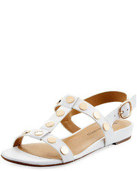 Neiman Marcus Bela Studded Strappy Flat Sandal White