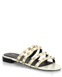 Balenciaga Studded Multi Strap Leather Slides