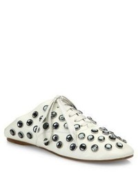 Acne Studios Mika Crystal Studded Leather Babouche Mules