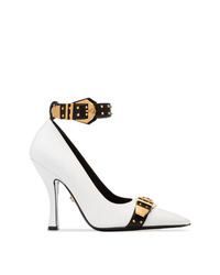 Versace White Black And Gold Metallic Studded Strap Leather Pumps