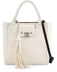 Jimmy Choo Robin Studded Leather Tote Bag White