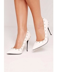Missguided White Studded Pumps