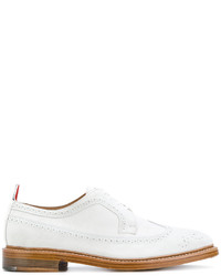 Thom Browne Tennis Collection Classic Longwing Brogue With Leather Sole In Fine Kid Suede