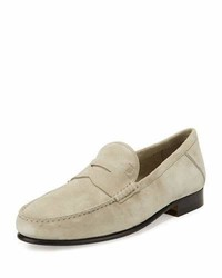 White Suede Loafers