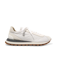 Brunello Cucinelli Suede Shell And Textured Leather Sneakers