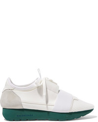 Balenciaga Race Runner Leather Mesh Suede And Neoprene Sneakers White