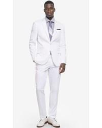 Express White Cotton Sateen Photographer Suit Jacket