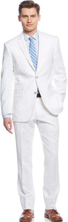 Perry Ellis Portfolio White Solid Linen Blend Slim Fit Suit ...