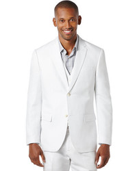 Perry Ellis Regular Fit Tan Linen Cotton Suit