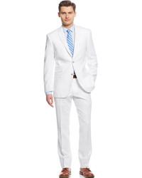 d457b3f1f ... Perry Ellis Portfolio White Solid Linen Blend Slim Fit Suit