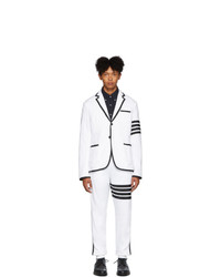 Thom Browne White Classic Loopback 4 Bar Suit