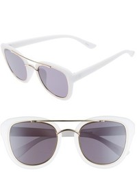 50mm Brow Bar Cat Eye Sunglasses White