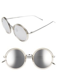 Linda Farrow 51mm Round Sunglasses Ash Rose Gold