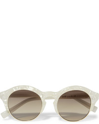 Self-Portrait Le Specs Luxe Round Frame Acetate And Gold Tone Sunglasses Ivory