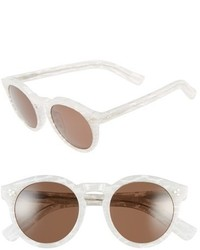 Illesteva Leonard Ii 50mm Round Mirrored Sunglasses Frost