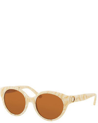 Tory Burch Rounded Logo Temple Plastic Sunglasses