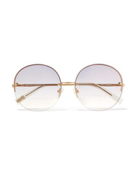 Le Specs Say My Name Round Frame Gold Tone Sunglasses