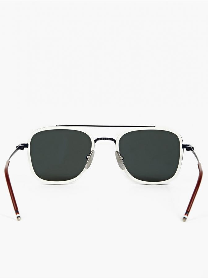 f603602046e9 Thom Browne White Tb 800 D Silver Lens Sunglasses