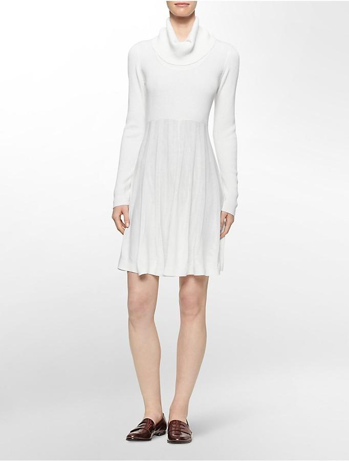 4cb72287e7 ... Calvin Klein Pleated Cowl Neck Sweater Dress ...