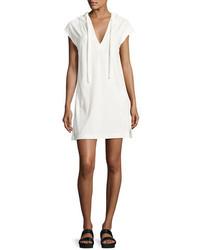 ATM Anthony Thomas Melillo French Terry Hooded Sweatshirt Dress White