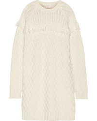 Tory Burch Fringed Cable Knit Wool Sweater Dress