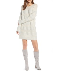 Something Navy Metallic Stripe Sweater Dress
