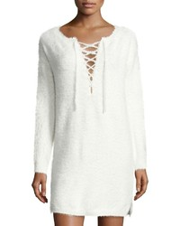 Knot Sisters Shore Lace Up Sweater Dress Off White