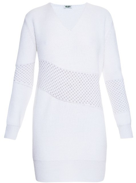 8b1cd3fec38a4 COM › Kenzo › White Sweater Dresses Kenzo Waffle Knit Panel Sweater Dress  ...