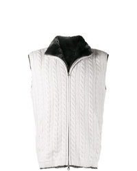 N.Peal Cable Knit Fur Lined Gilet