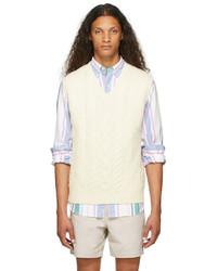 Polo Ralph Lauren Off White Aran Knit Wool Sweater Vest