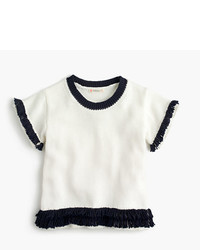 J.Crew Girls Short Sleeve Popover Sweater With Fringe