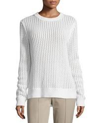 Michael Kors Michl Kors Long Sleeve Zigzag Ribbed Sweater White