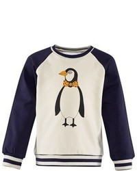 Mini Rodini Navy And White Penguin Print Sweatshirt