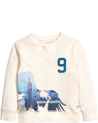 H&M Sweatshirt With Appliqus Natural White Kids